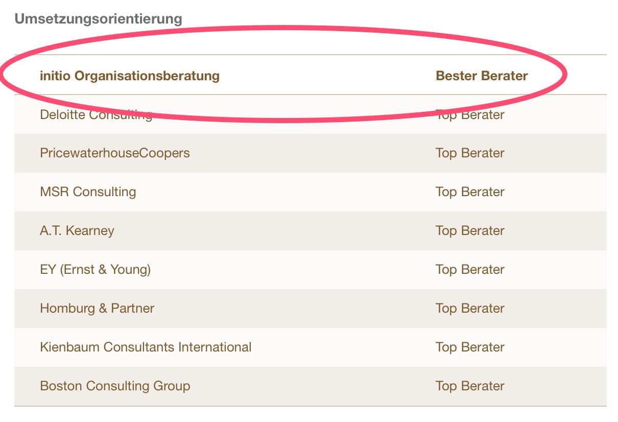 Bester Berater in Kategorie Umsetzungsorientierung